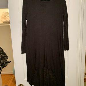 Long black cotton sheer sweater